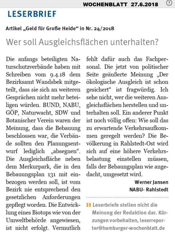 Wochenblatt270618LeserbriefZurGrossenHeide
